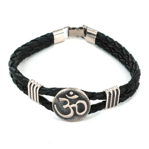 Men's Threaded Black Leather Bracelet with Om Sign Centerpiece - 8'' Length