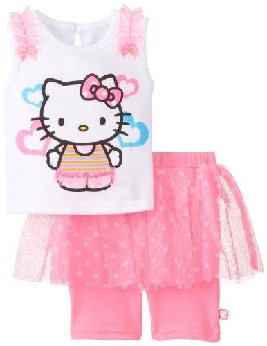 Hello Kitty Baby Baby-Girls Infant 2 Piece Short Set With Pink Neon Screenprint, Sugar Plum/Black, 24 Months