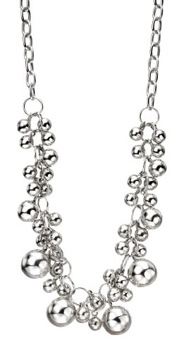 Elements Sterling Silver Ladies' N3049 Multi Ball Necklace, Length 48.5+4.5cm
