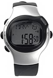 Kalevel Sports Pulse Rate Monitor Watch Calorie Counter Digital Wrist Watch Waterproof with Alarm Calendar Stopwatch (Fashion Silver)