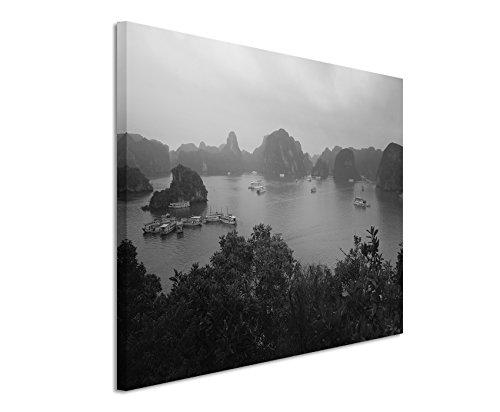 50x70cm Leinwandbild schwarz weiß in Topqualität Kreuzfahrt Vietnam Halong Bay