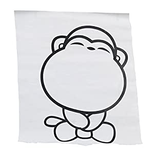 Wall Decor - All-matching Removable Wallpaper Toilet Stickers with Small Cartoon Monkey Pattern Large Size Black by Mark8shop