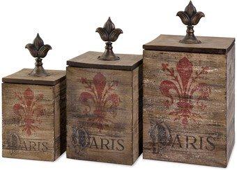 Imax 87407-3 Fleur De Lis Paris Boxes, Set Of 3
