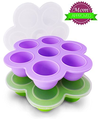 Beezy Beez Baby Food Storage Containers for Freezer with Lids, Set of 2. Best Tray System For Storing, Organizing and Freezing Homemade Foods. BPA Free, FDA Approved, Safe, Non-toxic Silicone (Freezer Baby Food Bags compare prices)