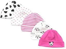 Gerber Baby-Girls Newborn 5 Pack Caps Dalmation, Pink, 0-6 Months