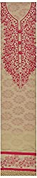 Krati Collections Women's Silk Unstitched Dress Material (Cream and Pink)