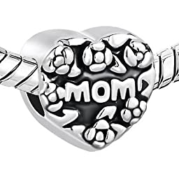 Charm Love Mom Heart Fits Pandora by Pugster Charm