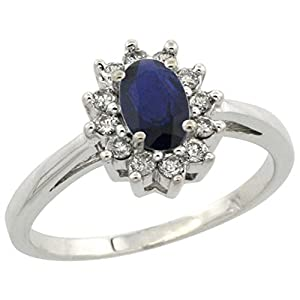 Sterling Silver Natural High Quality Blue Sapphire Diamond Flower Halo Ring Oval 6X4mm, 3/8 inch wide, size 7.5
