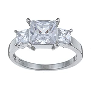 ParisJewelry Platinum Sterling Silver Square-cut Diamond Ring