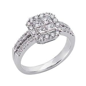 14k White Trendy 1.16 Ct Diamond Ring - Size 7.0 - JewelryWeb