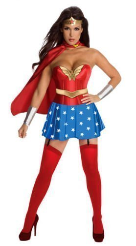 Donna 5 Pezzi Sexy Wonder Woman Costume Taglia 12 Mantello Da Vestito Maniche e Corona