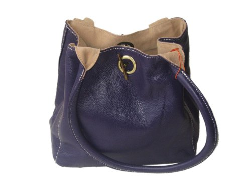 Reversible Leather and Suede shoulder bag Purple/Tan