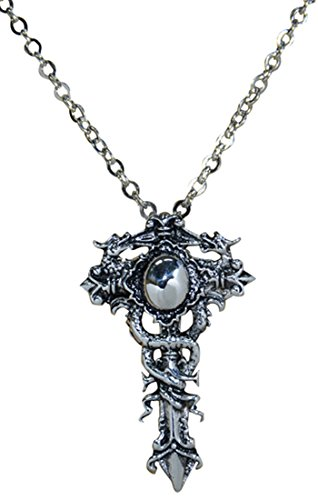 316 L Stainless Steel Cross Double Dragon Pendant Chain Necklace,20+2″
