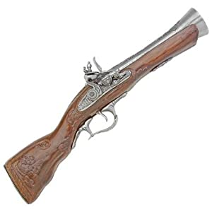 1700s Flintlock Blunderbuss Pistol - Detailed Replica of Classic Gun Used by Pirates and Highwaymen