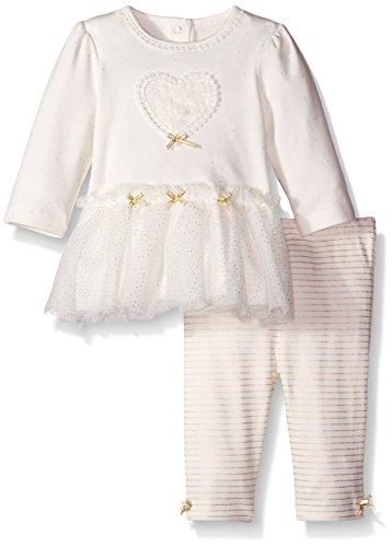 Little Me Baby-Girls Newborn Gold Heart Tunic Set, White, 6 Months