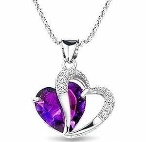 Pendentif coeur améthyste et accent de diamant - argent 925 plaqué rhodium - chaîne 45cm