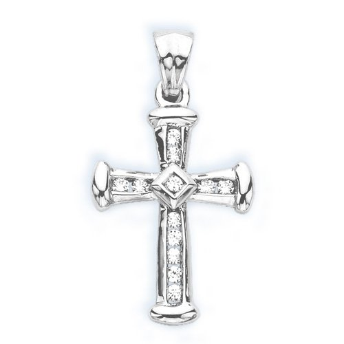 Diamond Cross Pendant 10K White Gold 1/4 ct. with Chain