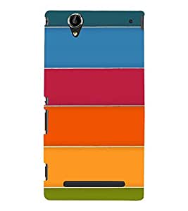 MULTICOLOURED STRIPES PATTERN 3D Hard Polycarbonate Designer Back Case Cover for Sony Xperia T2 Ultra :: Sony Xperia T2 Ultra Dual