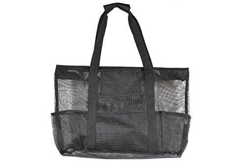 Victus Outdoors Large Black 24 x 16 Mesh Beach Bag With Zip Top, Long 12in Handles, Inside Zippered Pocket, Spring Clip, 8 Big Outside Pockets, Sand and Water Drains Away, With Bonus Zipper Tote