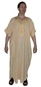 Clothing Hand made Djellaba Gandoura One Size Gold : Everything Else