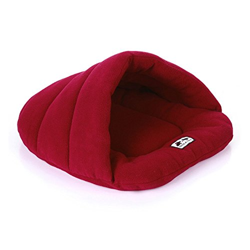 red-fleece-pet-cave-nest-bed-cushion-for-cats-and-dogs-soft-warm-basket-house-bag-mat-puppy-pad-roof