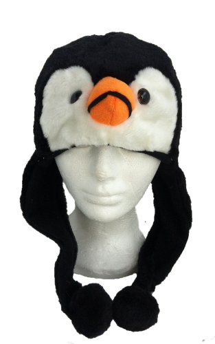 Plush Animal Hat Costume Cap Cute Soft Faux Fur Stuffed Toy Hood (Black Penguin)