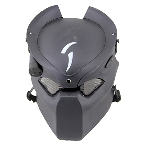 Coxeer® Outdoor CS Games Costume Mask Ventilate Protective Face Mask with Infrared Lamp for Halloween Masquerade Cosplay (Black)