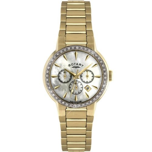 Rotary Timepieces Ladies Quartz Watch with Mother Of Pearl Dial Chronograph Display and Gold Stainless Steel Bracelet LB02848/40