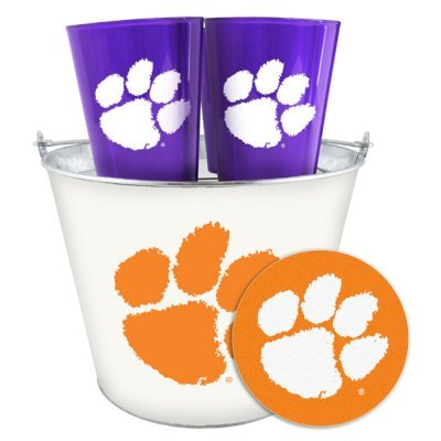 NCAA Clemson Beer Bucket, Plastic Pints (4) and Coasters (4) Set | Clemson Tigers Tailgating Bucket Set (Beer Bucket Plastic compare prices)