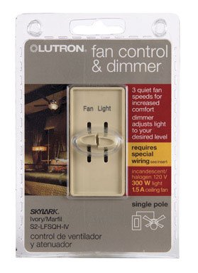 Lutron Electronics S2-LFSQH-IV Single Pole Quiet Light and Fan Control, 1.5-Amp, Ivory (Fan And Light Dimmer Switch Ivory compare prices)