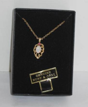 Van Doran Genuine Ruby & Opal Necklace ~ 18