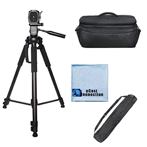 72 Inch Elite Series Full Size Camera Tripod + Extra Large Soft Padded Camcorder Equipment Case For Jvc Gy-Hm700U, Gy-Hm750, Gy-Hm790, Gy-Hmq10 4K, Gy-Hmz1U & More... + Microfiber Cloth