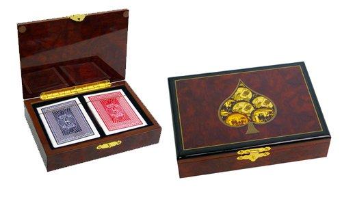 Coffret Poker Découverte en bois laqué + 2 jeux de cartes - As de pique