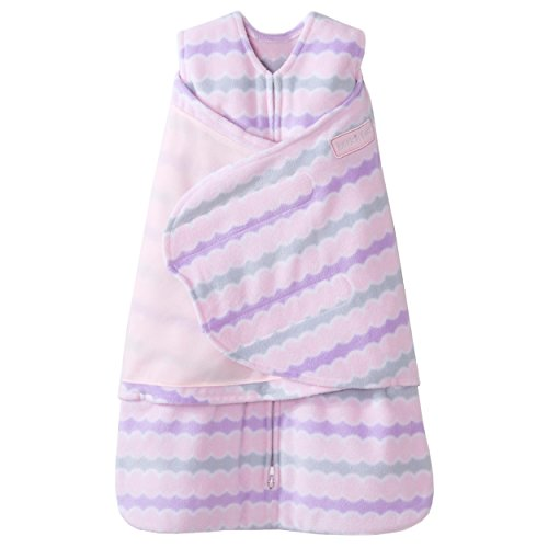 HALO SleepSack Micro-Fleece Swaddle, Pink Waves, Small