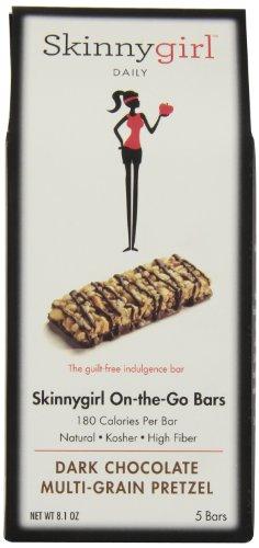 Skinny Girl On The Go Protein Bar, Dark Chocolate Multigram Pretzel, 5 Count