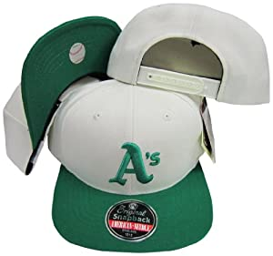 Oakland Athletics White/Green Two Tone Plastic Snapback Adjustable Snap Back Hat / Cap