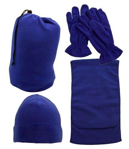 Warm Winter Fleece Set Scarf Gloves Hat/Beanie Bag - Gtfu-5000,Blue