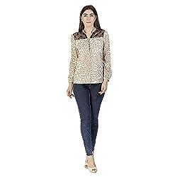 Gudi Women's Polyester Top_G5122BEIGE-M_Beige_M