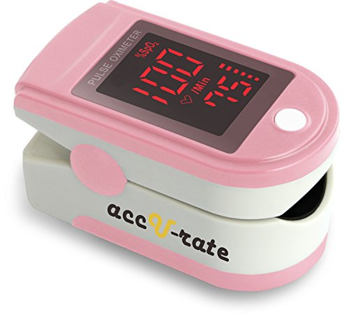 Acc U Rate Pro Series CMS 500DL Fingertip Pulse Oximeter Blood Oxygen Saturation Monitor with silicon cover, batteries and lanyard (Blushing Pink)