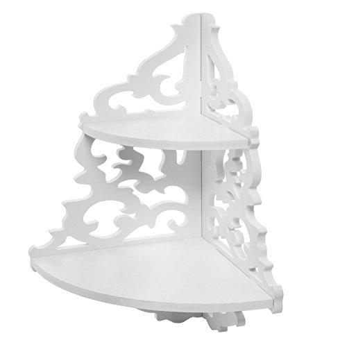 2 Tier White Wall Mounted Pastoral Carved Floating Corner Shelf / Plant & Decor Display Rack - MyGift®