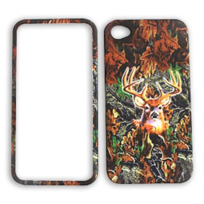 Apple iPhone 4 (AT&T/Verizon) Camo / Camouflage Hunter, w/ Deer iPhone 4 Hard Case/Cover/Faceplate/Snap On/Housing/Protector