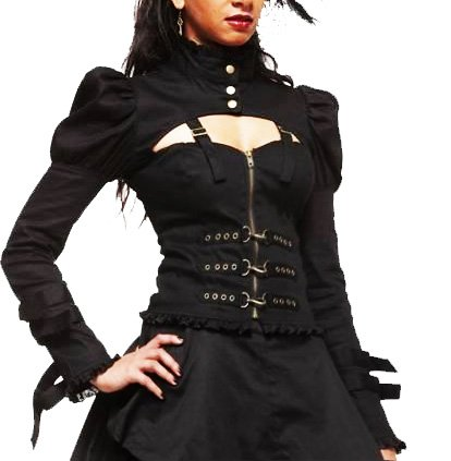 HELL BUNNY Victorian JACKET Gothic STEAM PUNK Bondage L 10