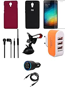NIROSHA Tempered Glass Screen Guard Cover Case Car Charger Headphone Mobile Holder Charger for Xiaomi Mi4 - Combo