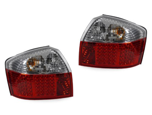 02-05 Audi A4/S4 B6 4D Red/Clear Led Tail Rear Lights Quattro - No Error!