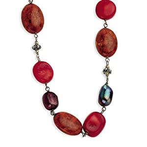 Genuine .925 Sterling Silver Antiqued Beads and Red Coral and FW Cultured Pearl Necklace. 100% Satisfaction Guaranteed.