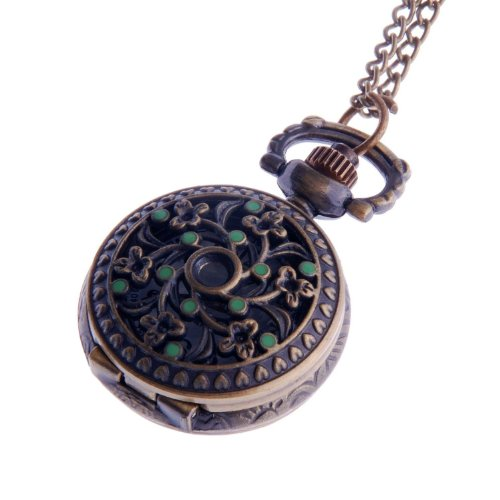 Ladies Pendant Necklace Pocket Watch Quartz Small Face with Chain Antique Reproduction Design Green Enamel Flower Pattern PW-61