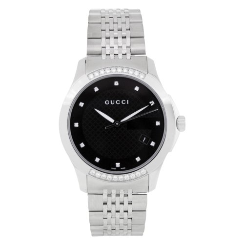 Gucci G Timeless Black Dial Diamond Unisex Watch YA126408