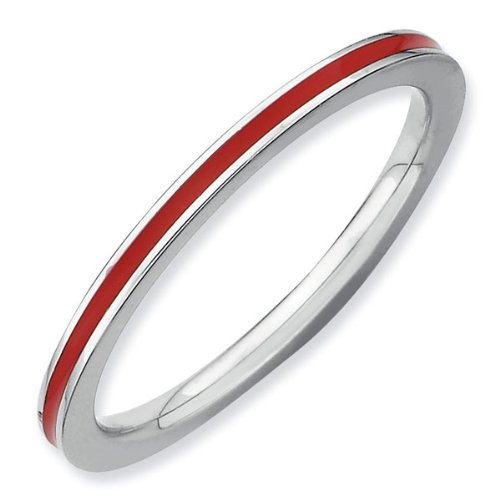 Red Enamel Stackable Ring 1.5mm - Size 9