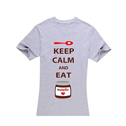 Women's Grey Short-Sleeved ,Keep Calm and Eat Nutella T-Shirt tengfeng(XL)