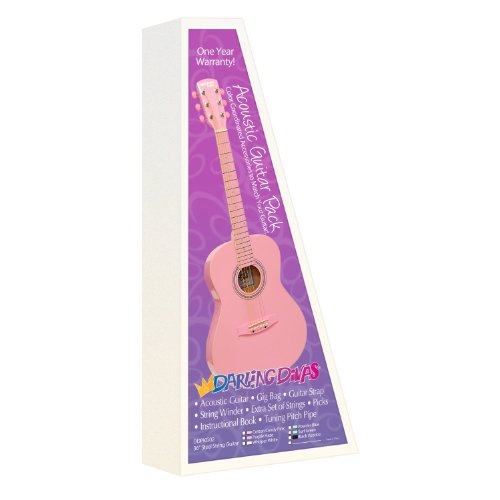 Darling Divas Acoustic Steel String Guitar Package For Girls; Color - Cotton Candy Pink. Includes An Acoustic Guitar, Color Gig Bag, Strap, Picks, Pitch Pipe Tuner, String Winder And Instruction Book.